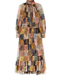 Zimmermann Ninety Six Ruffled Printed Silk Tte Midi Dress