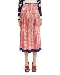Valentino V Print Silk Twill Pleated Midi Skirt