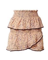 IRO Jully Ruffled Printed Silk De Chine Mini Skirt