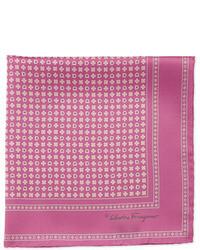 Salvatore Ferragamo Gancini Flower Pocket Square Pink