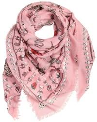 Pink Print Silk Scarf