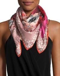 Roberto Cavalli Foulard Silk Twill Scarf Bright Pink