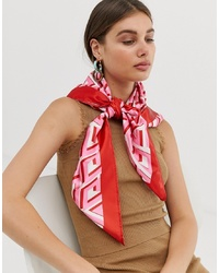 ASOS DESIGN Large Polysatin Headscarfneckscarf In Bright Monogram