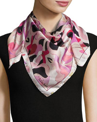 Roberto Cavalli Printed Silk Scarf Rose