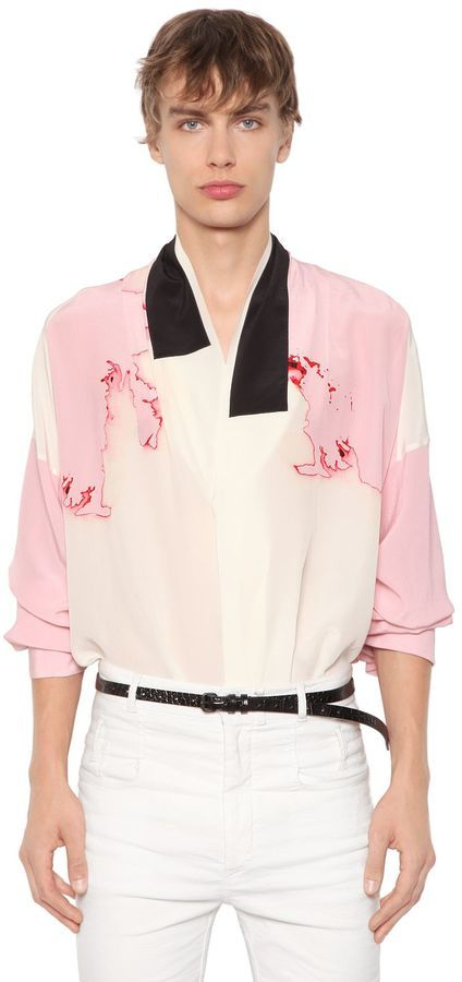 3529c54bbd559b Men's Fashion › Shirts › LUISAVIAROMA › Haider Ackermann › Pink Print Silk  Shirts Haider Ackermann Oversized Stain Printed Silk Crepe Shirt ...