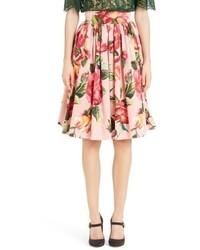 Dolce & Gabbana Dolcegabbana Rose Print Poplin Skirt