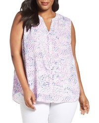 NYDJ Plus Size Print Sleeveless Pleat Back Top