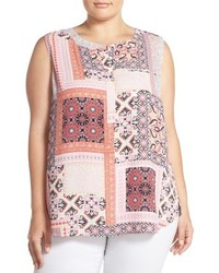 NYDJ Print Pleat Back Sleeveless Top
