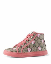 Gucci California Gg Supreme Printed High Top Sneaker Pink Youth