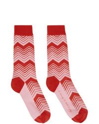 SSENSE WORKS Jeremy O Harris Red And Pink Print Socks