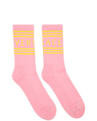 Versace Pink And Yellow 1990s Vintage Logo Socks