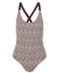 Topshop Leopard Print Sporty One Piece Swimsuit