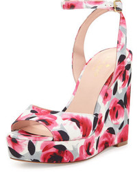 Kate Spade New York Dellie Garden Print Wedge Sandal Deep Pink