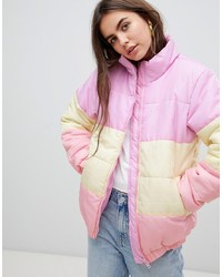 Daisy Street Padded Jacket In Pastel Stripe
