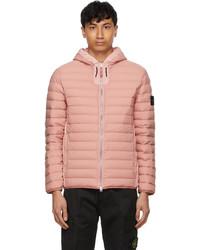 Stone Island Pink Down Stretch Nylon Tc Jacket