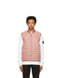 Stone Island Pink Down Loom Woven Chambers Vest