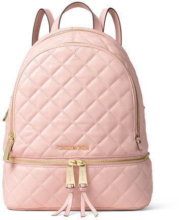 8b58a7d80cd7 ... Pink Quilted Leather Backpacks MICHAEL Michael Kors Michl Michl Kors  Rhea Medium Quilted Backpack Blossom ...