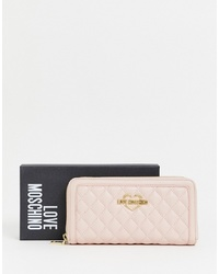 Love Moschino Quilted Zip Around Purse In Pink