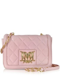 Pink Quilted Leather Crossbody Bag
