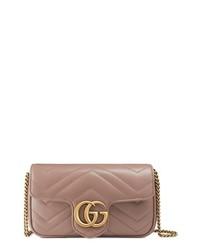 Gucci Supermini Gg Marmont 20 Matelasse Leather Shoulder Bag