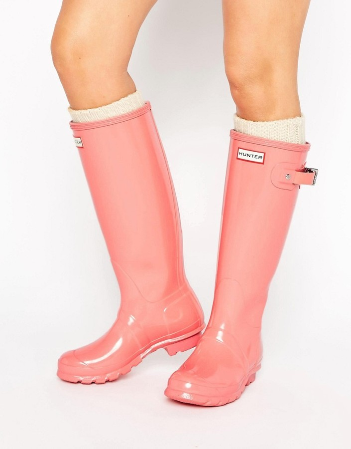 f0bab1cbd11 $156, Hunter Original Tall Gloss Pink Wellington Boots