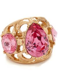 Oscar de la Renta Bold Crystal Filigree Ring