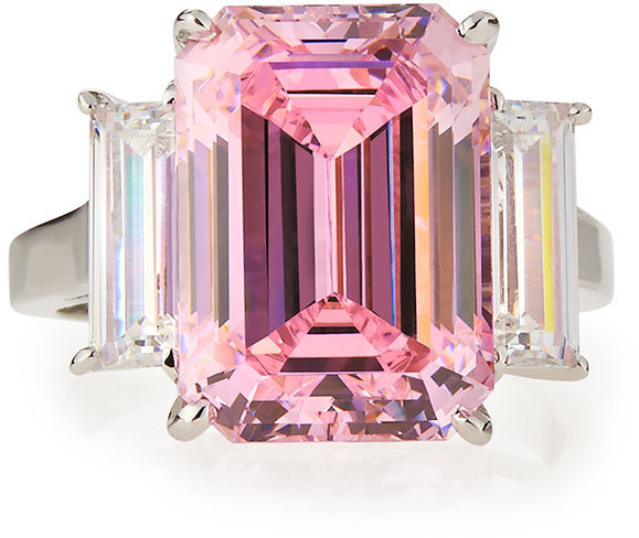 FANTASIA Emerald Cut Pink Cz Cocktail Ring