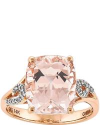 Fine Jewelry Genuine Morganite And Diamond Accent 14k Rose Gold Ring