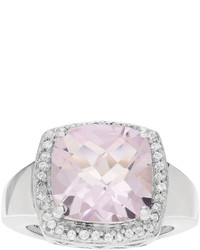Fine Jewelry Genuine Pink Amethyst And White Topaz Sterling Silver Ring
