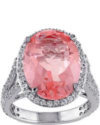 Fine Jewelry Genuine Pink Quartz And White Topaz Ring