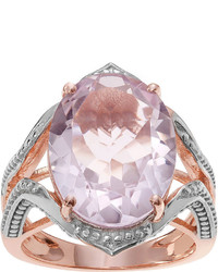 Fine Jewelry Journee Collection Genuine Pink Quartz 14k Rose Gold Over Silver Ring