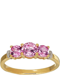 Fine Jewelry Lab Created Pink Sapphire And Diamond Accent 10 K Yellow Gold 3 Stone Ring