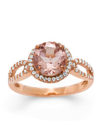 Fine Jewelry Simulated Morganite Lab Created White Sapphire 14k Gold Over Silver Ring