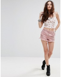 Missguided Sinner High Waisted Distressed Denim Shorts