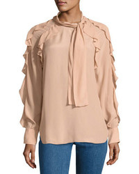See by Chloe Tie Neck Ruffled Silk Blend Blouse