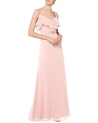 Levkoff Jeweled Ruffle Neck Chiffon Gown