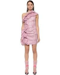 MSGM Ruffled Waxed Lace Mini Dress