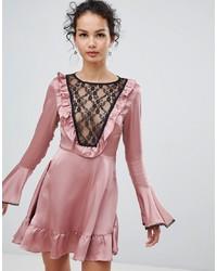 Glamorous Satin Skater Dress With Lace Bib Detail Satin