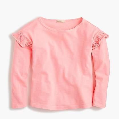 J.Crew Girls Long Sleeve T Shirt With Ruffles