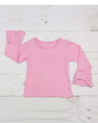 Light Pink Ruffle Long Sleeve Tee Infant Toddler Girls