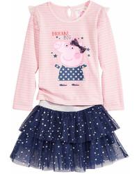 Peppa Pig Nickelodeons T Shirt Scooter Skirt Set Toddler Girls