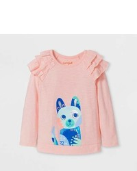 Cat & Jack Toddler Girls Ruffle Long Sleeve T Shirt Light Pink