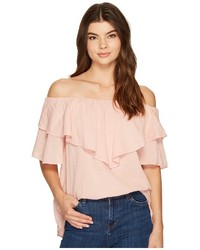 Heather Maria Twill Voile Ruffle Off The Shoulder Top Clothing