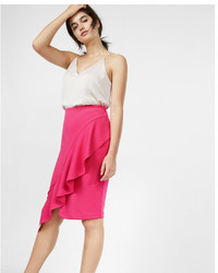 Express Ruffle Drape Pencil Skirt