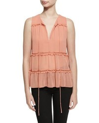 Alice + Olivia Massie Sleeveless V Neck Boho Blouse Pink