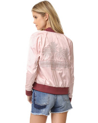 Pink Satin Bomber Jacket