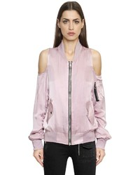 Rta cut out shoulder satin bomber jacket medium 1193672