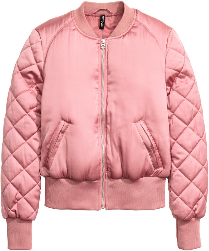 new products for select for clearance size 7 $19, H&M Short Satin Bomber Jacket