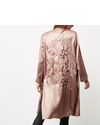 River Island Pink Embroidered Duster Coat