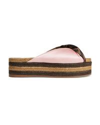 Fendi Satin Espadrille Platform Sandals